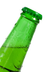 Green beer bottle with water drops on it's surface