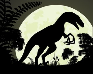 Silhouette dinosaur on background of the moon.