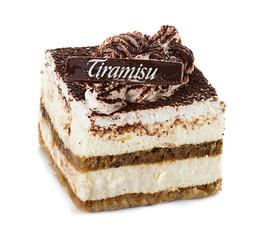 tiramisu cake isolated on white background