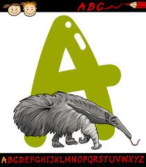 letter a for anteater cartoon illustration