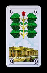 Spielkarten und Denkmäler  - Grün Sechs - Stuttgart Königsbau