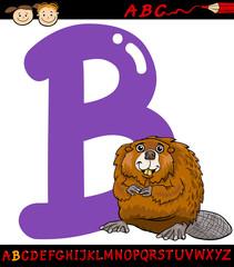 letter b for beaver cartoon illustration