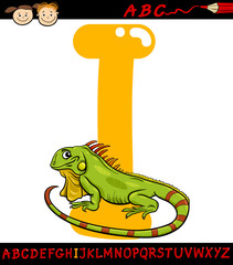 letter i for iguana cartoon illustration