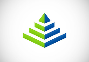 building 3D pyramid geometry vector logo