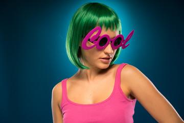 Slim Lady in Green Hair Wearing Pink Sleeveless