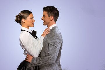 Fashion Photo. Sweet Couple in Close Face to Face