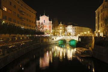 Ljublyana in night lights in Slovenia