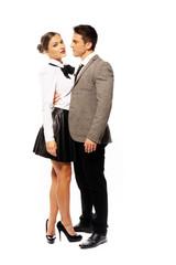 Romantic Partners in Fashion Attire Very Close