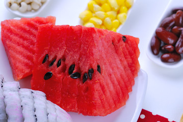 pieces of refreshing watermelon and dragon fruit