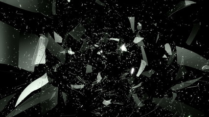 Glass and dollar symbol shattered slow motion. Alpha