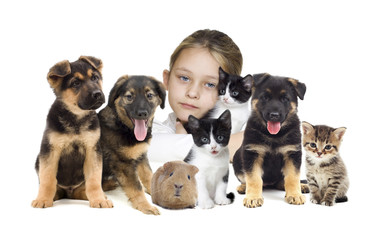 child and puppies and kittens