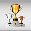 Victory cups or trophies, Gold, Silver and Bronze, vector illust