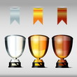 Victory cups or trophies with ribbons, Gold, Silver and Bronze,