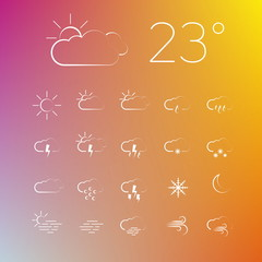Set of Vector weather thin line icons on a blurred background