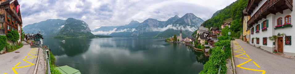 Panorama of Hallstatt village in Alps, Austria