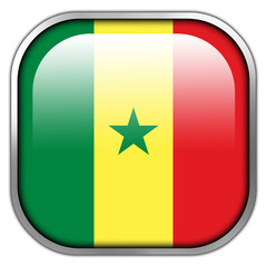 Senegal Flag square glossy button