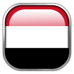 Yemen Flag square glossy button