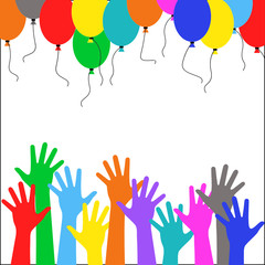 Multicolored hand people run multicolored balloons - festival
