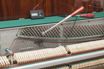 Detailed view of Upright Piano during a tuning
