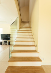 Wooden stairs at home
