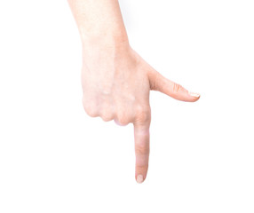 Female hand showing gesture on an isolated white background