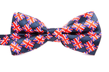 bow tie with a British flag on an isolated white background