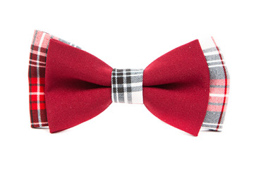 hipster bow tie red and black on an isolated white background