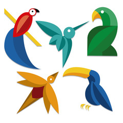 Set Of Different Abstract Birds Icons Isolated