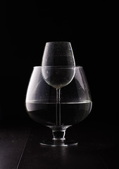 Water magnification physical phenomenon with wine glass