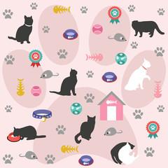 Seamless pattern, cat icons