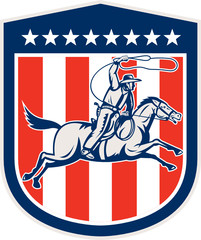 American Rodeo Cowboy Horse Lasso Shield Retro