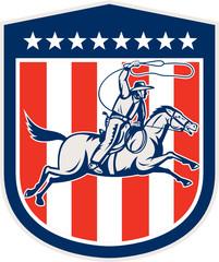 American Rodeo Cowboy Horse Lasso Shield Retro