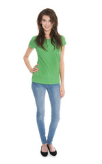 Ganzkörperaufnahme: Hübsche junge schlanke Frau