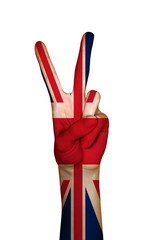 Hand covered in flag of UK