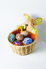 Easter bunny basket with eggs