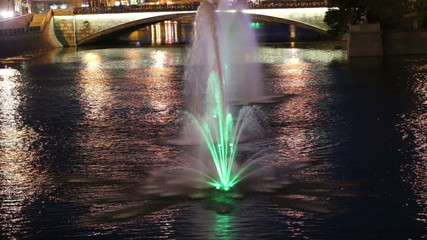 Night view on the drain channel and fountains, Moscow, Russia