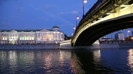 Luzhkov (Tretyakov) bridge, Night view, Moscow, Russia