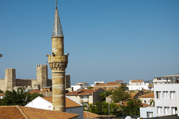 in front of a mosque minaret muslim district in Turkey