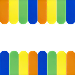 coloerful  piano keys on white
