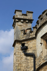 Turreted tower of the Old County Gaol in Buckingham England