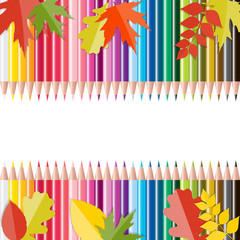 Back to School Background with Leaves and Pencils. Vector Illust