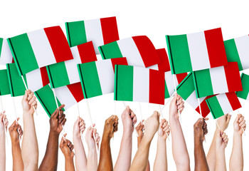 Hands Holding of Italian Flag
