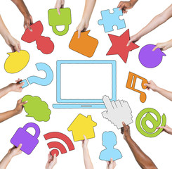 Multi-Ethnic Group of Hands and Internet Concept