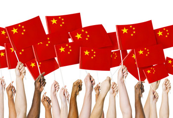 Hands Raising Holding Chinese Flag