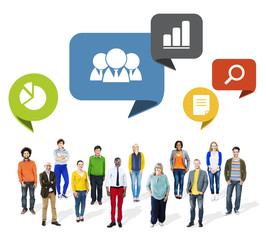 Group of Multiethnic People with Speech Bubbles