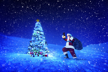 Santa Claus Holding Lantern and Sack on Snow