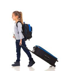 little girl travelling
