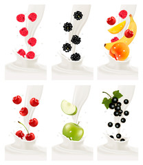 Colorful fresh fruits falling into the milky splash. Vector illu