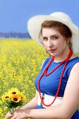 Lovely lady in a field