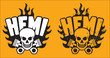 Постер, плакат: Hemi Skull and Pistons with grunge option